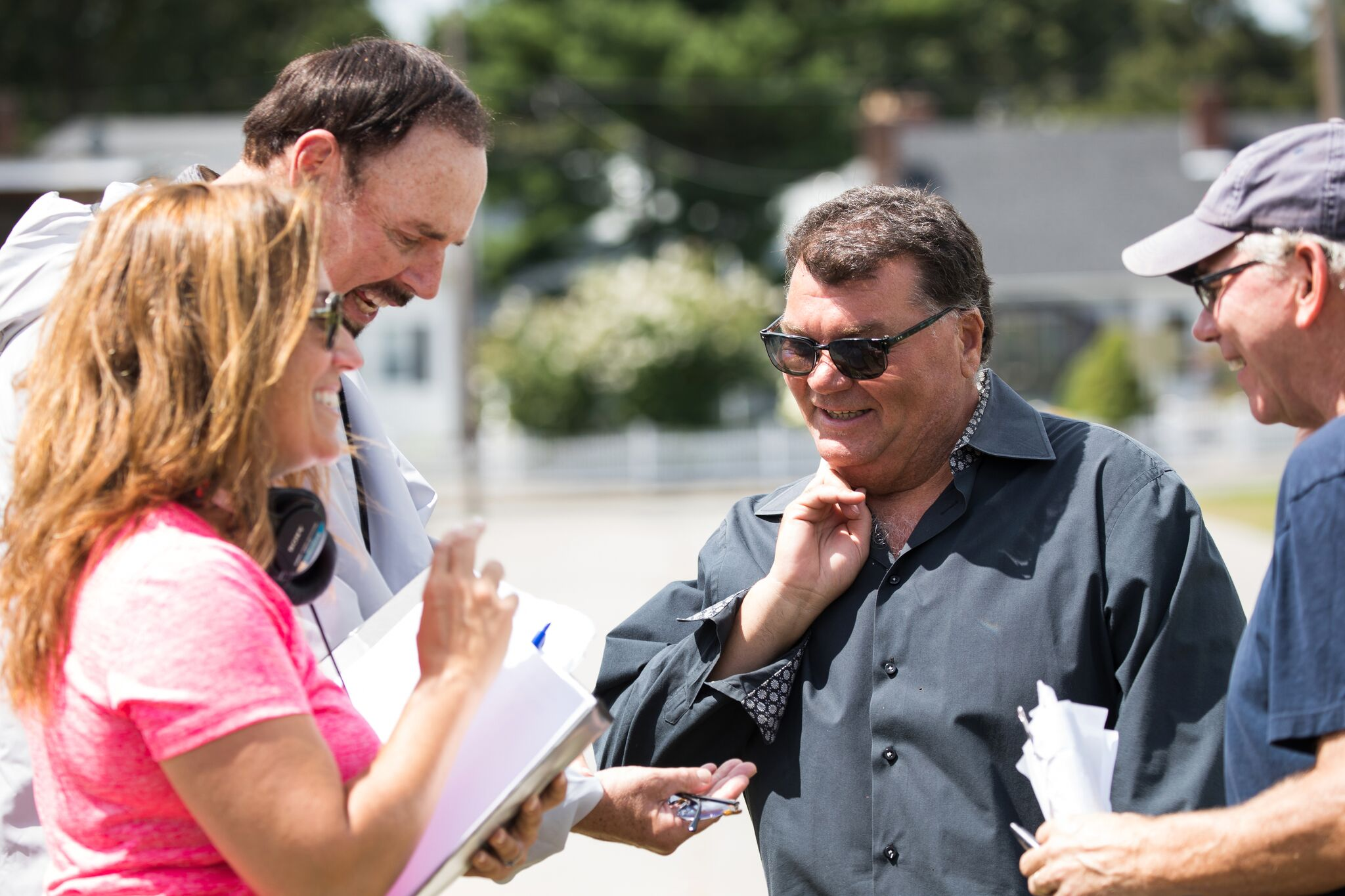 Actor/Comedian Tony V. gets a laugh in between takes.