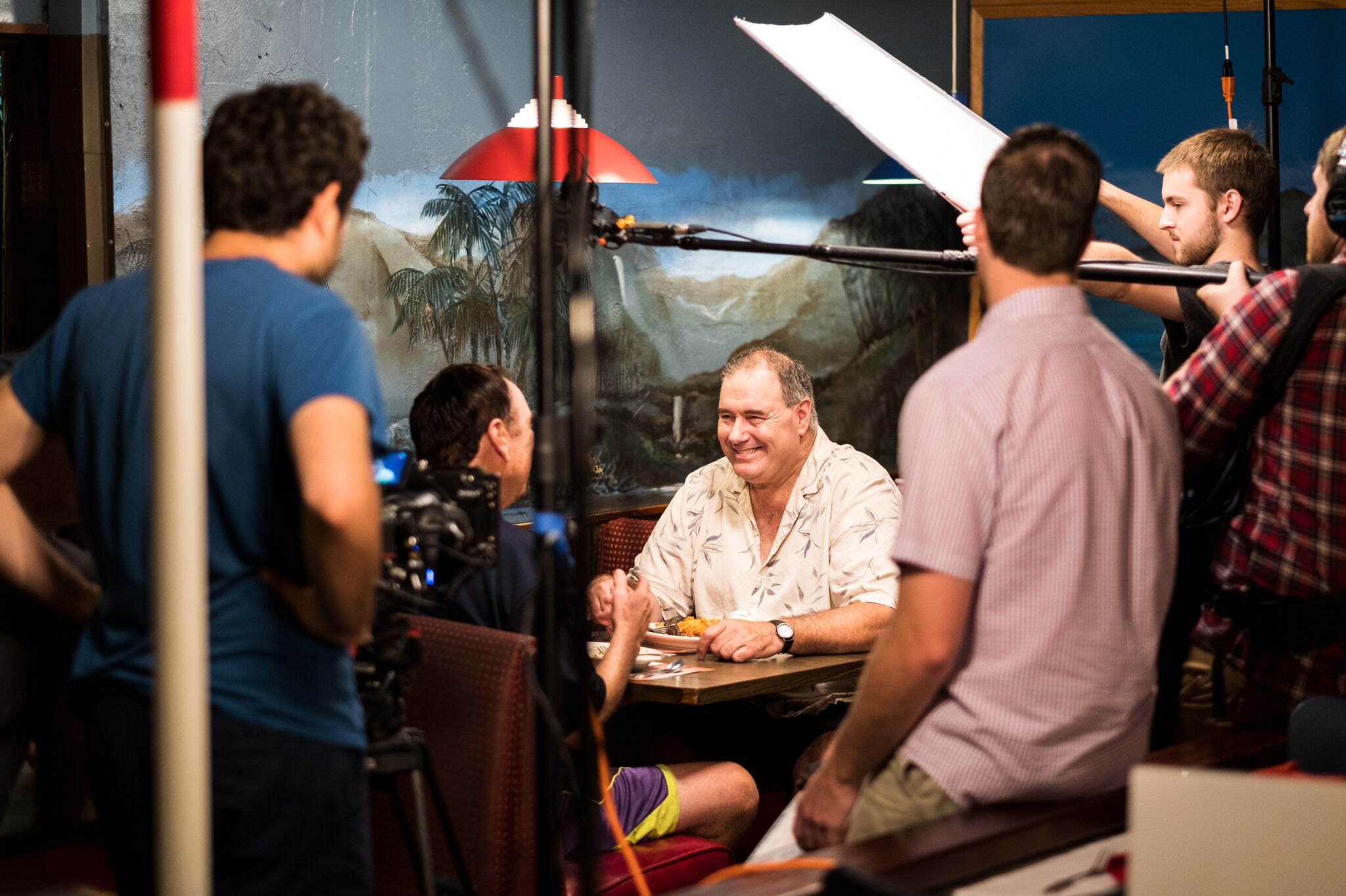 Actor/Comedian Frank Santorelli rehearsing a scene at Kowloon Restaurant.